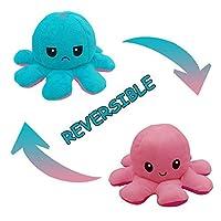 Wu5dra- 可逆タコぬいぐるみ愛らしい両面フリップタコ人形、幸せで怒っているタコのぬいぐるみ人形、創造的な海のおもちゃ子供のためのタコのギフトを笑顔 (H)