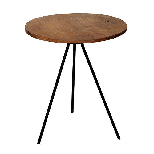 Brillibrum Design Beistelltisch Dreibeiner Teakholz kleiner Kaffeetisch Natur Vintage Couchtisch Holztisch mit Metallbeine runde Teak Tischplatte Rund 39,5ø)