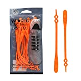 No Tie Elastic Shoe Laces for Kids and Adults,Best for Sneaker(Orange)