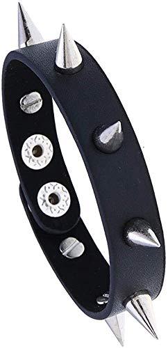 Gymqian Bracelet Men's Jewelry Creative Leather Bracelet Non-Mainstream Nightclub Pointed Rivet Bracelet-Black + Alloy Pointed Nail Exquisite/Yellow