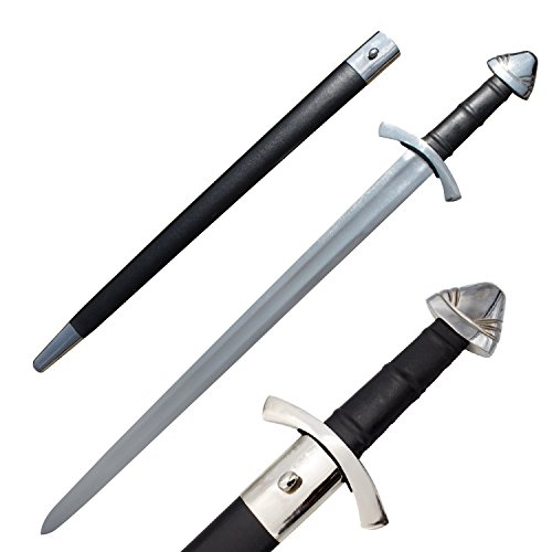 RED DEER Battle Ready Carbon Steel Viking Sword with Custom Leather Scabbard