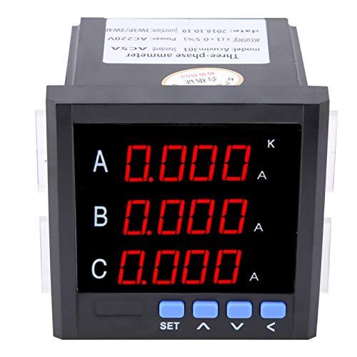 Voltímetro de amperímetro de CA, amperímetro de CA trifásico programable LED digital 1A/5A/10A (blanco)(black)