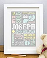 Personalised Cute Baby Elephant Print, New Baby Gift, Birth Details, Boy, Girl, Newborn Stats, Nursery Art Decor, Naming...