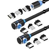 マグネット 充電ケーブル Bastec 3in1 USBケーブル 【3本セット】急速充電 360度回転 磁石 磁気 防塵 着脱式 ライトニング マイクロUSB Type-C コネクタ タイプc Micro USB Cable 結束バンド付き(0.5M+1M+2M)-ブラック