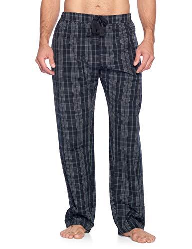 Ashford & Brooks Men's Sleep Pajama Pants   Woven Plaid Long PJ Sleepwear & Loungewear Bottoms, Black/Grey/White, XL