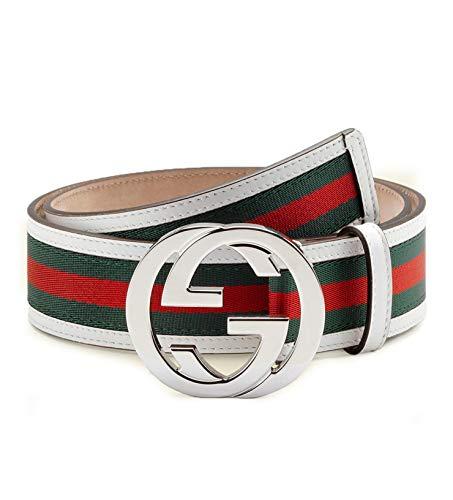 Gucci GG Web Leather Belt with Interlocking G Buckle 114984 8624 (white) (32)