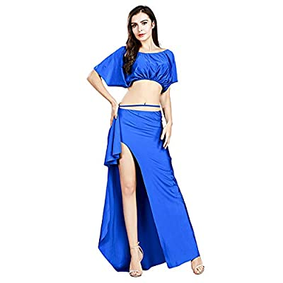 ROYAL SMEELA Belly Dance Costume for Women Belly Dancing Skirt Bat Sleeve Top Backless Belly Dancing Outfit Carnival Costumes