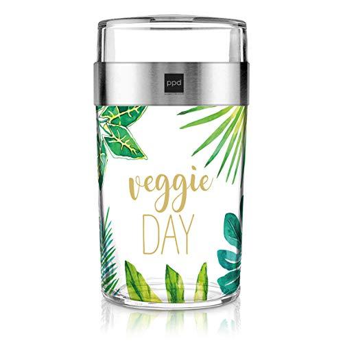 PPD Paperproducts Design Snack 2Go Glass Motiv Veggie Day Salatbecher Müslibecher aus Glas Becher to Go