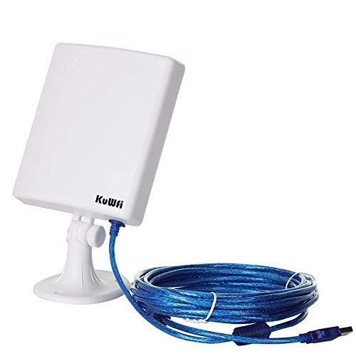 KuWFi Adaptador de Red WiFi al Aire Libre de Largo Alcance, Antena Estable de Alta Resistencia 14dBi Cable 5M Adaptador inalámbrico USB Desde el Exterior