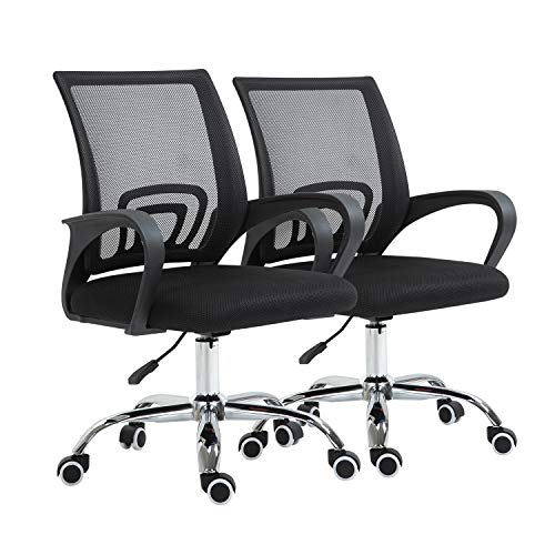 YAMASORO-2-Packs-Ergonomic Office Chair Mesh Computer Desk Chairs with Wheels Arms Lumbar Support Adjustable Swivel Mid Back for Conference Home Office,Black