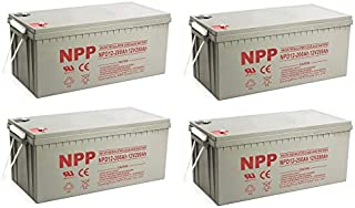 NPP NPD12-200Ah Rechargeable AGM Deep Cycle 4D SLA 12V 200Ah Battery with Button Style Terminals (4 Pack)
