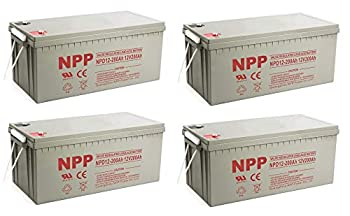 NPP NPD12-200Ah Rechargeable AGM Deep Cycle 4D SLA 12V 200Ah Battery with Button Style Terminals  4 Pack