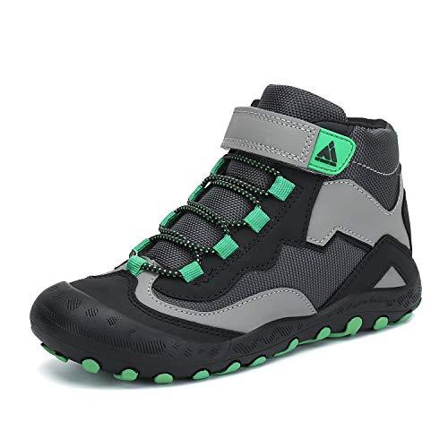 Mishansha Trekkingschuhe für Kinder Wanderschuhe Leicht Sommer Jungs Sneaker Klettverschluss Wander Schuhe Sportiva Unisex Schwarz B 32 EU