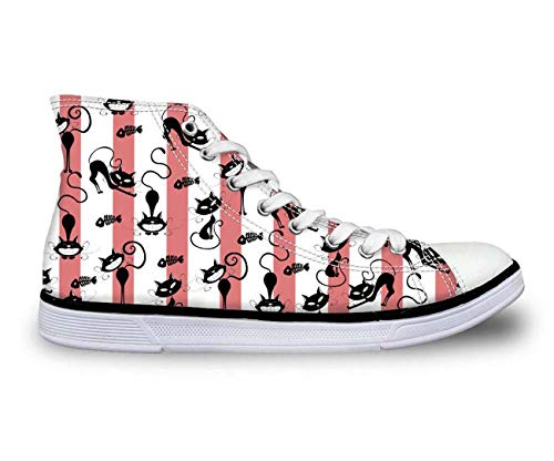 Cat Print Women Fashion Canvas Shoes Leisure Walking Sneakers Flat Comfort Pumps pink Stripe CC3418AK UK 4