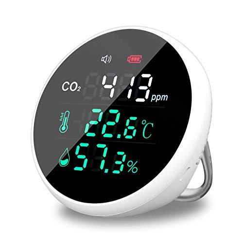 Misuratore di CO2 400-5000 ppm, portatile rilevatore CO2, monitor di temperatura e umidità, tester di qualità dell aria, monitoraggio in tempo reale 24 ore, bianco
