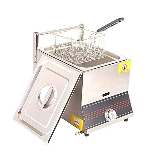 Friggitrice a gas professionale, friggitrice per patatine di pollo in acciaio inossidabile con serbatoio da 6 litri con paletta per cestello per ristorante commerciale Famiglia friggitrice