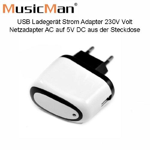 MusicMan USB Ladegerät/Netzadapter/ Strom Adapter 230V Weiss - Original MusicMan Zubehör