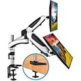 HUANUO Dual Arm Monitor Stand - Height Adjustable Gas Spring Desk VESA Mount for Two 15 to 27 Inch Computer Screen with 2 in 1 Mounting Base