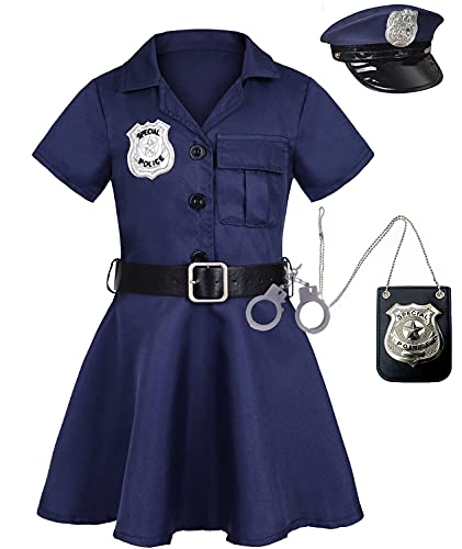 Viyorshop Girls Police Officer Costume Kids Cop Outfit for Halloween Role Play Dress Up with Badge Necklace (9-10 Years)