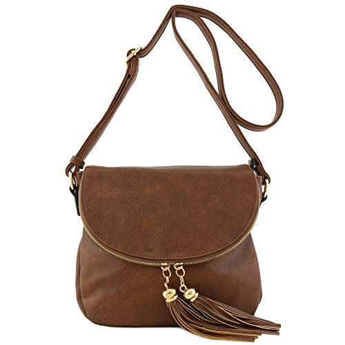 Tassel Accent Crossbody Bag with Flap Top (Brown)