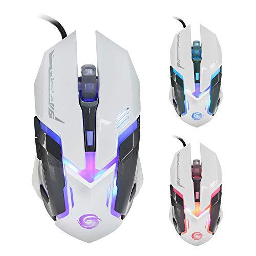 Yowablo USB-Wired Maus Gaming Maus 3200 DPI 6D Knöpfe LED verdrahtete Spiel-Maus für PC Laptop (Weiß)