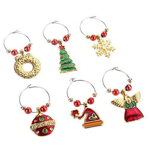 Longspeed Weinglas Dekoration Ring Weihnachten Weinglas Dekor Familie Neujahr Cup Ring Weihnachten Anhänger Metall Ring Dekor - Multicolor
