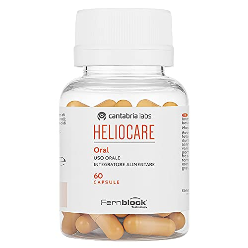 Heliocare Oral Cápsulas - Fotoprotección desde el Interior, Aumenta la Resistencia de la Piel al Sol, Acelera un Bronceado Natural y Homogéneo, 60 cápsulas, 60 Unidad