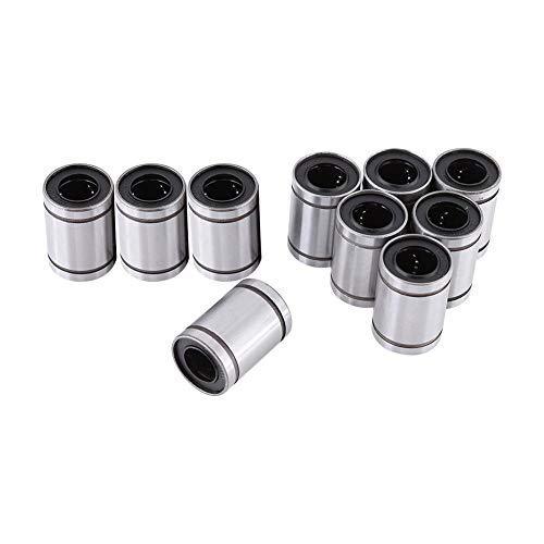 Linear Bearing, 10pcs LM12UU 12mm Linear Motion Ball Bearings, Slide Bearing, Low Noise and Durable, with Double Sealed, for 12mm Rod 3D Printer CNC Parts, Engraving Machine