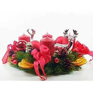 Adventskranz silberner Hirsch Advent Tannenbaum Kerzen Weihnachten Kranz Orangen Kugeln Hirsche Schleifen Bänder…