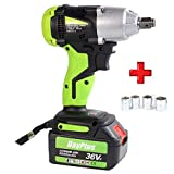 18V Cordless Impact Wrench Max 460Nm High Torque 2900rpm Impact Gun with 2