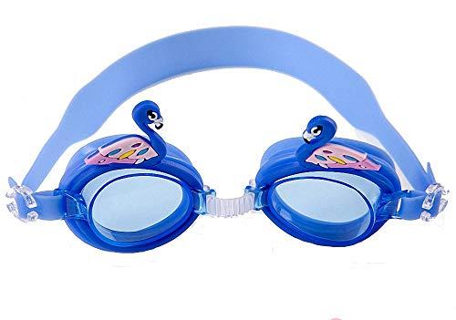 Spet Tiger ゴーグル 子供用 スイミング ゴーグル 3~8歳対象モデル 可愛い 防水 防霧 UVカット (ブルー&白鳥)