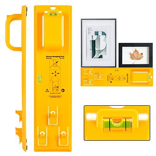 Herramienta para colgar cuadros con nivel, fácil marco para colgar cuadros (amarillo)