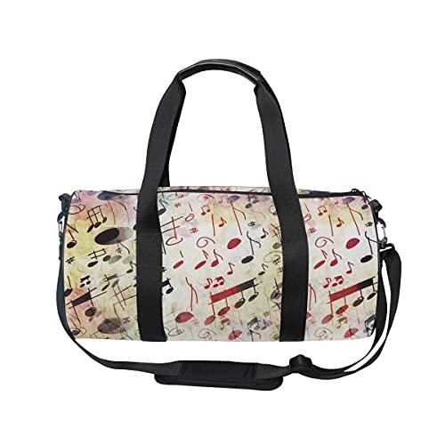 Borsone da palestra, note musicali, borsa da viaggio con scomparto per scarpe e tasca bagnata, per donne o uomini