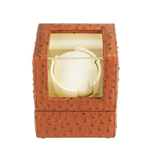 LSRRYD Aufbewahrung Echtleder Uhrenbeweger,für 1 Automatikuhren 4 Programmsegmente Angetrieben Durch Japanischen Motor (Color : Orange, Size : 13x13x15.5cm)