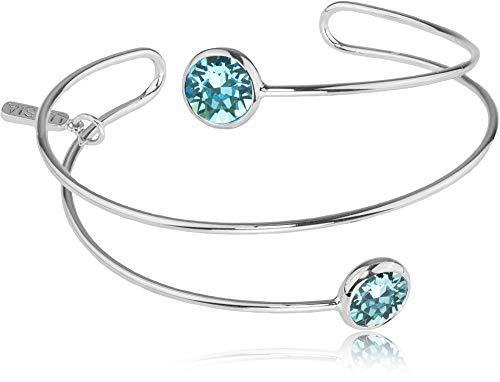 LUISIA® Spiral Armreif Fjella mit zwei Kristallen von Swarovski® - Silber/Aquamarine