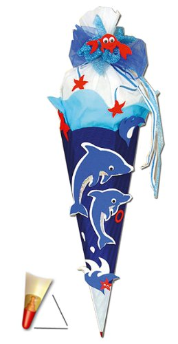 alles-meine.de GmbH BASTELSET Schultüte - Delfin Fisch 85 cm - mit Holzspitze - Zuckertüte Roth - ALLE Größen - 6 eckig Mädchen Jungen Fische Delfine Unterwasser blau