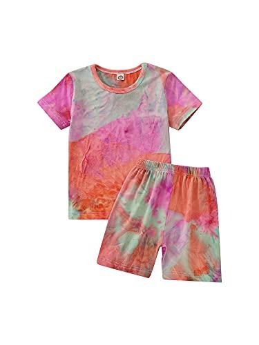 Casuales para niños pequeños, niñas y niños, Camiseta de Manga Corta con teñido Anudado, Camiseta Superior + Pantalones Cortos, Conjunto de 2 Piezas, Conjuntos de Ropa (Gray Pink, 2-3T)