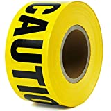 """Caution Tape 3""""x330' Yellow and Black High Visibility Non-adhesive Tear Resistant Safety Warning Barricade Tape Constrution Theme Party Caution Tape Great for Hazardous/Danger Area"""