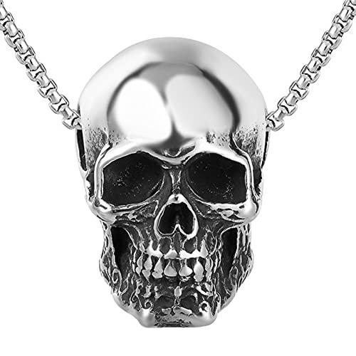 EzzySo Collar Colgante de Acero del Acero de Titanio gótico Viking Viking, Retro Punk Hip Hop, Motociclista, Ciclista, Halloween, Fiesta, Regalos para Hombres y Mujeres (incluida la Cadena),Plata
