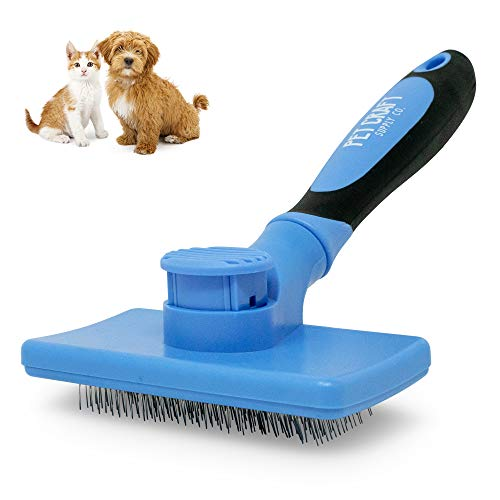 Pet Craft Supply Self Cleaning Calming Slicker Pet Grooming Brush for Dogs and Cats with Short to Long Hair, Removes Mats, Tangles, Loose Hair and Undercoat Treatment