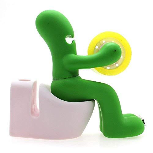 Trayosin - Dispenser per nastro adesivo e stazione di lavoro per ufficio, organizer per accessori da scrivania con fermafogli, foglietti adesivi e penna verde