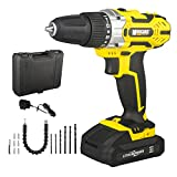 Morgans Power 13PCS Cordless Drill 18V Set Driver LI-ION Electric Screwdriver WORKLIGHT LED with CASE