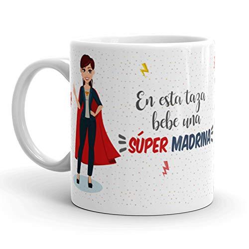 Kembilove Taza de Café para Madrina – Aquí Bebe una Super Madrina – Taza de Desayuno para Familia – Regalo Original para Cumpleaños, Navidad, Aniversarios – Taza de Cerámica Impresa de 350 ml