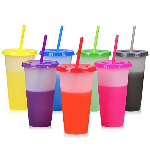 Farbwechsel Becher - 7 PCs Wiederverwendbar Plastik Trinkbecher mit Deckel & Strohhalm - BPA Frei Plastikbecher EisKaffee to Go Reisebecher Tasse - 24oz | 710ml KaltGetränkebecher für Kinder