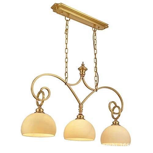 Kroonluchter restaurant kroonluchter driekops eettafel lamp staande lamp eenvoudige Europese koper kroonluchter 73 * 50 cm hangend licht