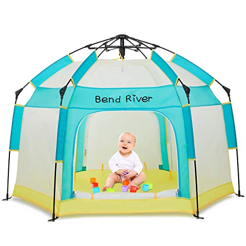 Bend River Portable Baby Beach Tent, Baby Playpen with Canopy, Toddler Play Yard Indoor and Outdoor, Foldable Mosquito Net for Infant