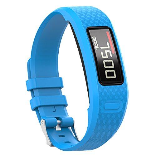 KOMI Correa de reloj compatible con Garmin Vivofit 1 / Vivofit 2, correa de silicona de repuesto para fitness, pulsera deportiva, tamaño grande y pequeño, color azul