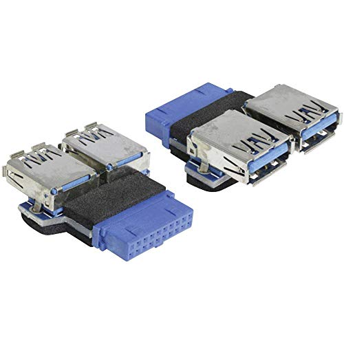 Delock USB 3.0 PinHead op 2x USB 3.0 adapter
