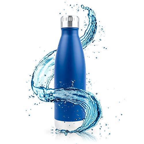 Aislado Botella Gimnasio, Termica Botella de agua acero inoxidable 0,75L (750ml) 0,5L (500ml) - Duración garantía, para niños, deporte y bicicleta, sin Logotipos, sin BPA, con Tapa de madera de bambú