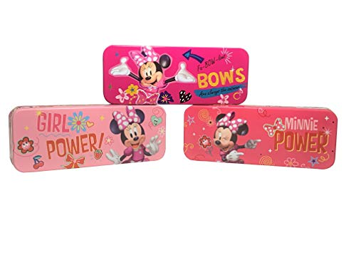 Set of Three Minnie Mouse Metal Pencil Cases. Back to School Shopping School Suplies